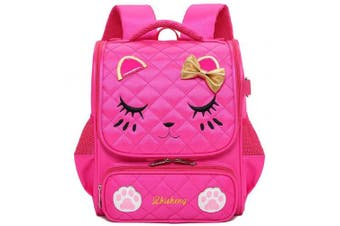 (Small, Rose red-S) - Adanina Cute Cartoon Cat Face Girls School Backpack Bowknot Primary Schoolbag Bookbag