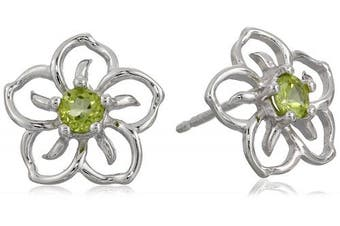 (peridot) - Sterling Silver Sky Flower Stud Earrings