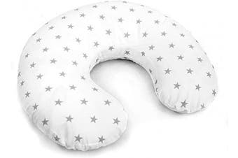 (Small grey stars on white) - Cover Feeding Pillow Nursing MATERN ITY Baby Pregnancy Breastfeeding - ONLY Cover (Small Grey Stars on White)