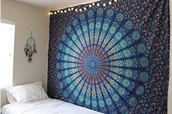 (King(88x104Inches)(225x265Cms), Blue Green) - Bless International Indian hippie Bohemian Psychedelic Peacock Mandala Wall hanging Bedding Tapestry (Blue Green, King(88x104Inches)(225x265Cms))
