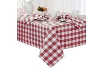 (150cm  x 260cm  Oblong, Burgundy) - Newbridge Buffalo Cheque Indoor/Outdoor Cotton Tablecloth - Cottage Style Gingham Cheque Pattern Tablecloth - 60 x 102 Oblong/Rectangular, Burgundy