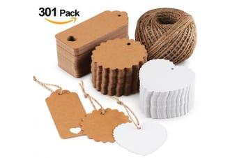 (301PCS) - Kraft Paper Gift Tags Wedding Favour with Natural Jute Twine 60m (301pcs)