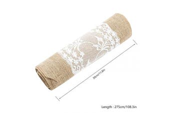 (Lace in Middle, 1pcs) - New_Soul 30cm x 270cm Vintage Burlap Table Runners White Lace Hessian Table Runner Natural Jute for Wedding Festival Event Table Decoration