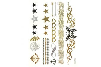 (Glamour) - Wrapables Large Metallic Gold and Silver Temporary Tattoo Stickers, Glamour