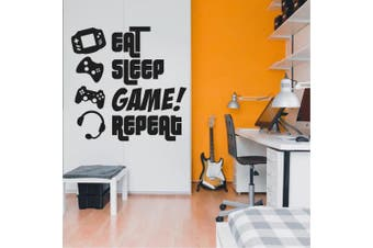 (120cm  x 120cm , Black) - EAT, SLEEP, GAME, REPEAT - Gamers Wall Art Vinyl Decal - Video Gamers Cool Wall Decor- Decoration Vinyl Sticker - Teen Boys Room Decor - Boys Bedroom Wall Decoration (120cm x 120cm , Black)