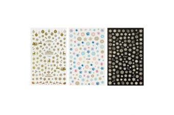 ALLYDREW 3 Sheets Winter Snowflakes & Snowflake Nail Stickers