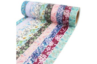 (Floral Patterns 2) - Floral Washi Tape 10m Long Each Roll Decorative Masking Tape Japanese Paper Tapes Fabric Tape for Arts and Crafts, DIY Projects, Scrapbooks, Calendar, Bible Journaling and Gift Wrapping