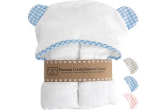 (blue gingham) - Channing & Yates - Premium Baby Towels for Boys - Hooded Baby Boy Towel & Washcloth Set - Certified Organic Bamboo Baby Towels with Hood - Baby Boy Bath Towels Gift (Blue)