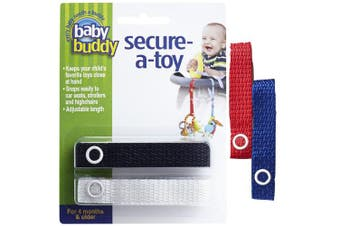 (Royal/Red/White/Black) - Baby Buddy 4 Piece Secure-A-Toy, Royal/Red/White/Black