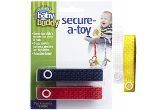 (Navy/Red/White/Yellow) - Baby Buddy 4 Piece Secure-A-Toy, Navy/Red/White/Yellow