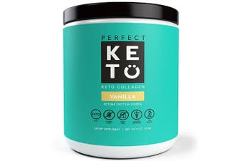 (Vanilla, 340g) - Perfect Keto Protein Powder Vanilla: Grass Fed Collagen Peptides Low Carb Keto Drink Supplement with MCT Oil Powder - Best as Keto Drink Creamer or Added to Ketogenic Diet Snacks. Paleo & Gluten Free