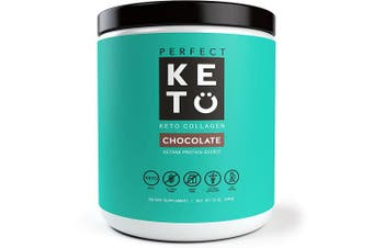 (Chocolate, 340g) - Perfect Keto Chocolate Protein Powder: Collagen Peptides Grassfed Low Carb Keto Drink Supplement with MCT Oil Powder. Best as Keto Drink Creamer or Added to Ketogenic Diet Snacks. Paleo & Gluten Free