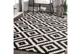 (0.6m x 0.9m, Black) - nuLOOM Kellee Contemporary Wool Accent Rug, 0.6m x 0.9m, Black