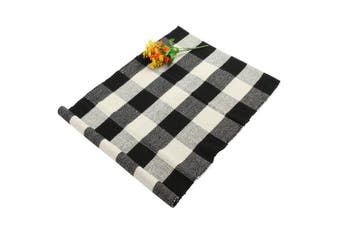 "(24"" by 35"", Plaid-black and White) - Homcomoda Buffalo Plaid Mat Chequered Kitchen Rugs Cotton Area Floor Rug Door mats for Kitchen Living Room Bedroom-60cm by 90cm (Plaid Black and White)"