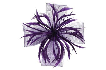(Purple) - Aurora Collection Biots and Beads Fascinator