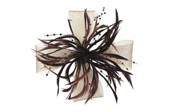(Brown) - Aurora Collection Biots and Beads Fascinator