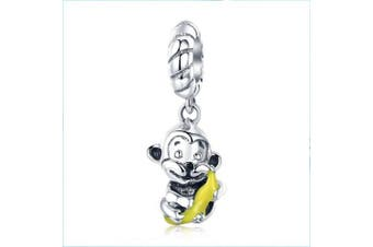 Monkey & Bananas Dangle 925 Sterling Silver Animal Charm Beads for Diy Charms Bracelet & Necklace