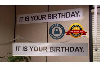 """ IT IS YOUR BIRTHDAY. "" Banner - The Birthday Party Banner As Seen On TV Show - The Office Vinyl Party Banner With Metal Hanging Rings by DAPELO."