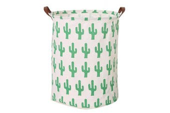 (Cactus) - CLOCOR Collapsible Round Storage Bin/Large Storage Basket/Clothes Laundry Hamper/Toy Books Holder (Cactus)