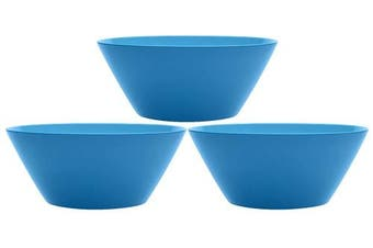 (3, Blue) - Set of 3 Blue Plastic Squircle Serving Bowls - 25cm Diameter Serving Bowls - Bright and Beautiful Collection - Serving Bowls Perfect for Parties, Events, Picnics, Weddings, or Home Regular Use!