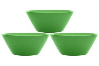 (3, Green) - Set of 3 Green Plastic Squircle Serving Bowls - 25cm Diameter Serving Bowls - Bright and Beautiful Collection - Serving Bowls Perfect for Parties, Events, Picnics, Weddings, or Home Regular Use!