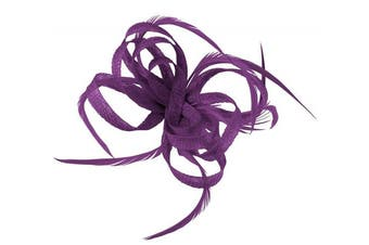 (Purple) - Aurora Collection Loops in Hessian Fascinator