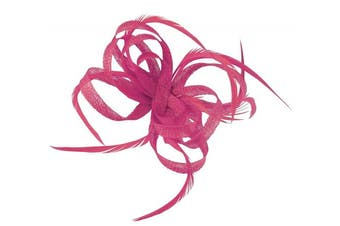 (Pink) - Aurora Collection Loops in Hessian Fascinator