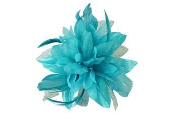 (Blue) - Aurora Collection Flower with Biots Fascinator