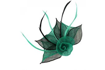 (Teal & Black) - Aurora Collection Two Tone Rose Fascinator