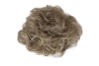 (dirty blonde mix #18TH613A HW38) - PRETTYSHOP XXXL Hairpiece Hair Wrap Scrunchie Scrunchy Updos, VOLUMINOUS, Curly Messy Bun, dirty blonde mix #18TH613A HW38