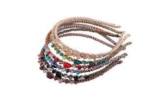 Candygirl Girls Women Crystal Beaded Jewel Headbands (7pc Set Bejewelled Sparkle Headbands)