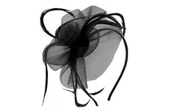 (Black) - Aurora Collection Swirl and Biots Fascinator on aliceband