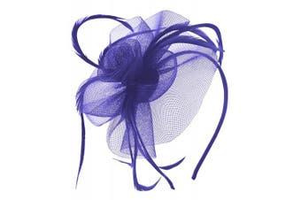 (Royal Blue) - Aurora Collection Swirl and Biots Fascinator on aliceband