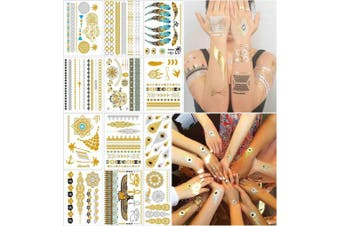 (Boho) - COKOHAPPY Metallic Tattoos 12 Shimmer Sheets - Over 150+ Mandala, Mehndi, Boho Designs in Gold and Silver Bright Colours for Women Teens Girls