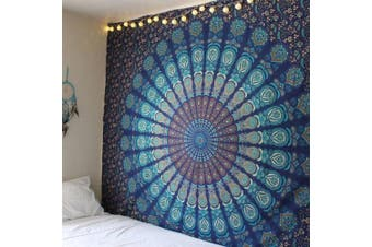 (Navy Blue and Green) - Popular Indian Hippie Tapestry Mandala Wall Hanging Blue Bohemian Decor Psychedelic Intricate Floral Flower Wall Decor Beach Throw Bedspread Tapestries for Bedroom (210cm x 150cm , Navy Blue Green)