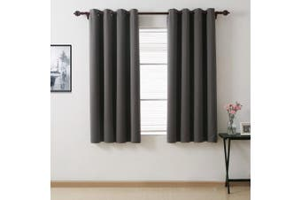 (130cm  x 160cm -2panels, Dark Grey) - Deconovo Blackout Drapes Thermal insulated Curtain Room Darkening Drapes with Grommets Window Coverings for Bedroom 130cm x 160cm Dark Grey 2 Panels