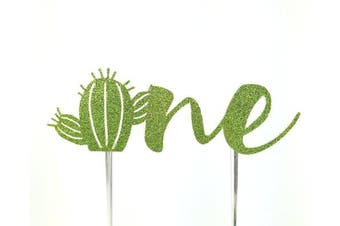 (One without flowers) - Handmade Succulant Birthday Cake Topper Decoration - one with cactus - Made in USA with Double Sided Gold Glitter Stock (One without flowers)