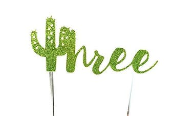 (Three without flowers) - Handmade Succulent Birthday Cake Topper Decoration - three with cactus - Made in USA with Double Sided Gold Glitter Stock (Three without flowers)