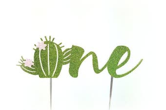 (One with flowers) - Handmade Succulent Birthday Cake Topper Decoration - one with cactus flowers - Made in USA with Double Sided Gold Glitter Stock (One with flowers)