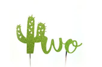 (Two without flowers) - Handmade Succulent Birthday Cake Topper Decoration - two with cactus - Made in USA with Double Sided Gold Glitter Stock (Two without flowers)