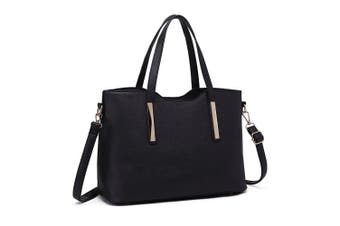 (1719 Black) - Miss Lulu Fashion Ladies Pu Saffiano Leather Top Handle Bags 2 Pieces Tote Shoulder Handbags for Women
