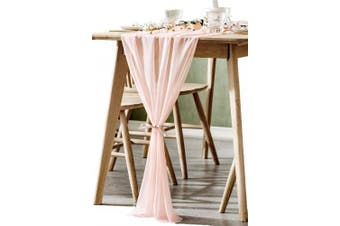 (Light Pink) - BOXAN Gorgeous Light Peach Sheer Table Runner 80cm x 300cm for Blush Romantic Wedding Decor, Bridal & Baby Shower, Birthday Party, Boho Christmas Party Table Decoration