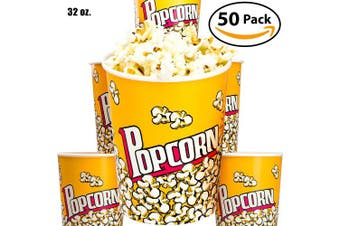 (50) - Premium Leak-Free 950ml Disposable Popcorn Cup 50pk By Avant Grub. Stackable Buckets With Fun Design. Great For Concession Stands, Carnivals, Fundraisers, School Events, Or Family Movie Nights.