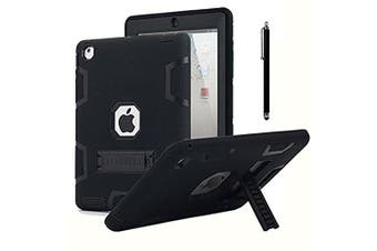 iPad 2 Case,iPad 3 Case,iPad 4 Case, AICase Kickstand Shockproof Heavy Duty Rubber High Impact Resistant Rugged Hybrid Three Layer Armour Protective Case with Stylus for iPad 2/3/4 (Black)