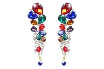 (Multicolor Gold-Tone) - TENYE Women's Crystal Wedding Elegant Cluster Teardrop Dangle Pierced Earrings