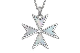 (Mother of Pearl) - 'Order of St. John' Maltese Cross Necklace Inlaid with Mother of Pearl or Abalone Shell Christian Faith Religious Necklace Jewellery Gift Box