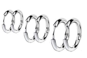 (White) - findout Ladies Multiple colours to choose fromTitanium Steel 10mm 12mm 14mm Classic simple circle Flattened Hoop 3 pairs earrings, For man Women Girls (f1812)