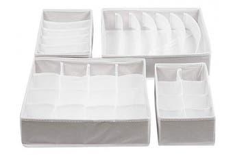 (White) - ZOLLNER drawer organiser set of 4, storage boxes, collapsible closet organiser