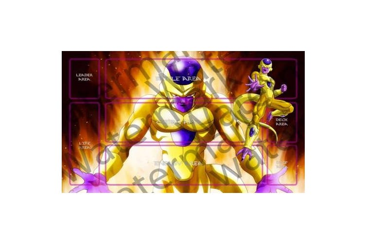 Dragonball Super Golden Frieza DBZ DBS TCG CCG playmat gamemat 60cm wide 36cm tall for trading card game smooth cloth surface rubber base