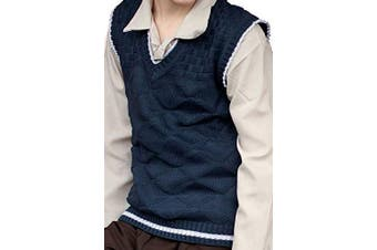 (AGE 7-9, Blue) - CL COSTUMES World Book Day WARTIME-WW2-1940's EVACUEE Childrens knitted TANK TOP-Sleeveless Pullover in Blue or Brown (AGE 7-9, BLUE)